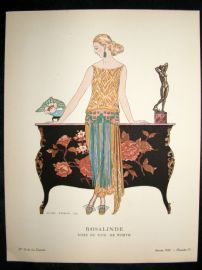 Gazette du Bon Ton by George Barbier 1922 Art Deco Pochoir. Rosalinde